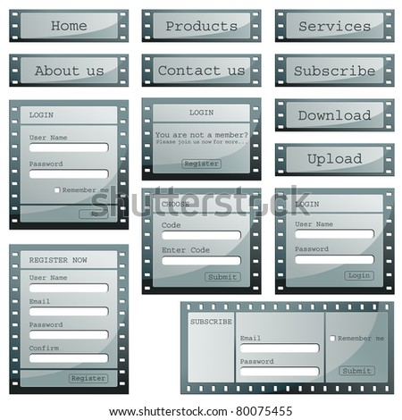 illustration of set of web templates with login, registration and sign up forms in film strip style