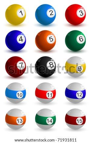 illustration of set on snooker ball on white background