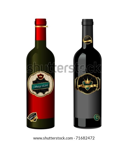 Illustration of set wine bottle with label isolated on white background - vector