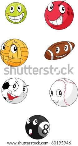 illustration of seven balls on a white background
