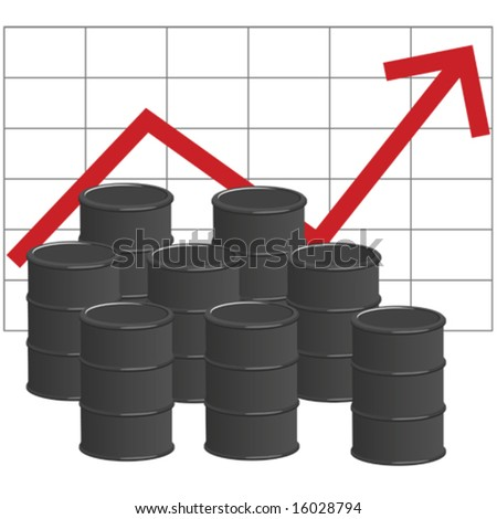 Illustration of several barrels of oil in front of graph showing increase in price of the commodity