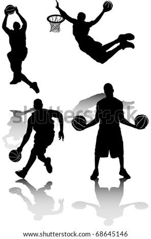 illustration of several silhouettes of basketball players