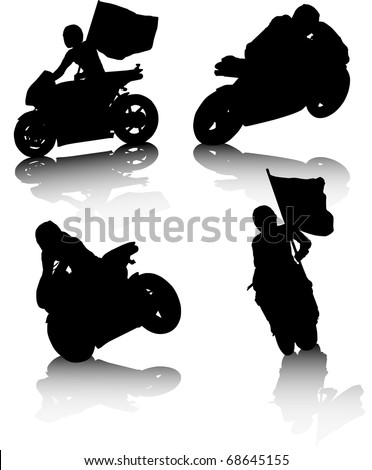 illustration of several silhouettes of men in motorcycles