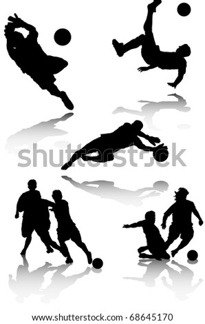 illustration of several silhouettes of soccer players