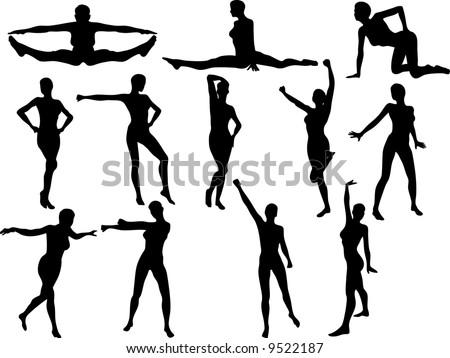 Illustration of Sexy Cheerleader Silouettes - Vector