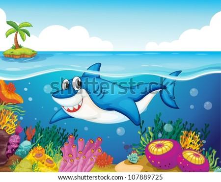 stock vector illustration of shark fish in a deep sea water 107889725 - Каталог — Фотообои «Для детской»