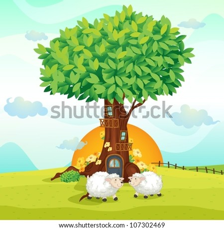 illustration of sheeps under a tree house