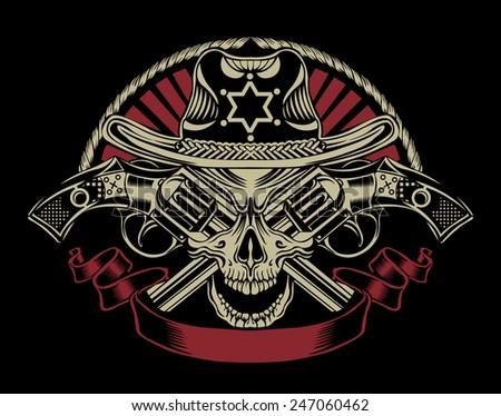 Illustration of Sheriff's skull with guns.