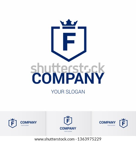 Illustration of Shield Badge-Shape with letter F in the Middle and Luxury Crown. Logo Icon Template for Web and Business Card, Letter Logo Template on White Background
