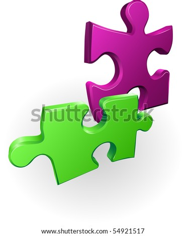 Illustration of shiny jigsaw puzzle pieces icon