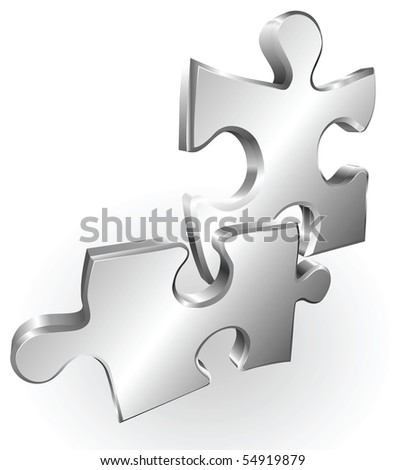 Illustration of shiny metal steel jigsaw puzzle pieces icon - stock vector
