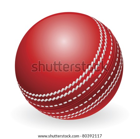 Illustration of shiny red traditional cricket ball