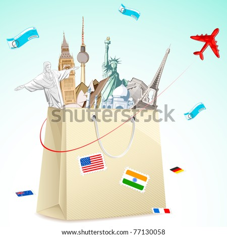 illustration of shopping bag full of famous monument with air ticket and airplane flying