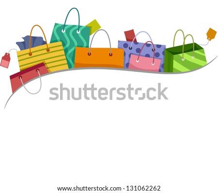 Illustration of Shopping Bags Border