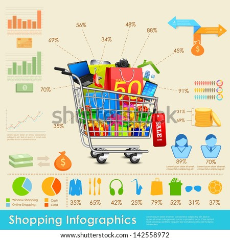 illustration of shopping infographics with statistics