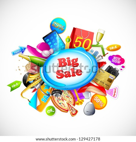 illustration of shopping object for big Sale