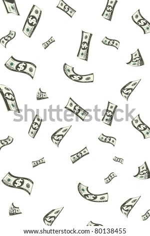 illustration of shower of dollar note falling down