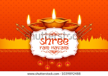 illustration of Shree Ram Navami celebration background for religious holiday of India