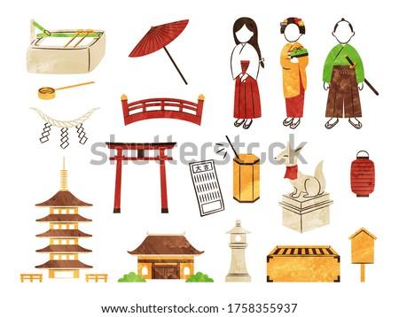 illustration of shrine and temple Stockfoto ©