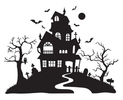 Illustration of silhouette a scary house. Mystical house with monsters and ghost for Halloween. Spooky house. Vector illustration for the store. Tattoo.