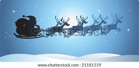 Illustration of Silhouette Flying Santa and Christmas Reindeer