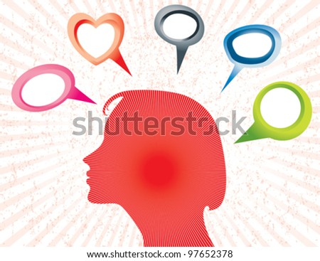 Illustration of Silhouette of a woman with empty speech bubbles. AI EPS 10 Vector file.