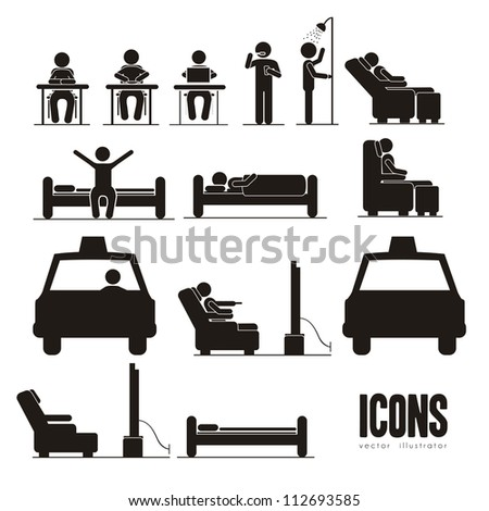Illustration of silhouettes of humans in everyday activities vector illustration