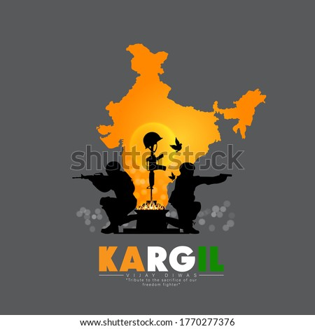 illustration of silhouettes of soldiers abstract concept for Kargil Vijay Diwas, banner or poster. Vector illustration-vector