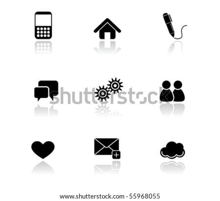 Illustration of Simple Black Icons - Internet series