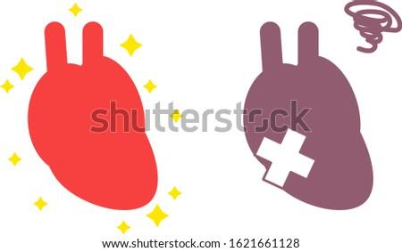 Illustration of simple healthy and unhealthy heart internal organs circulatory organ