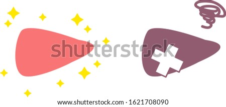 Illustration of simple healthy and unhealthy liver internal organs / digestive organ