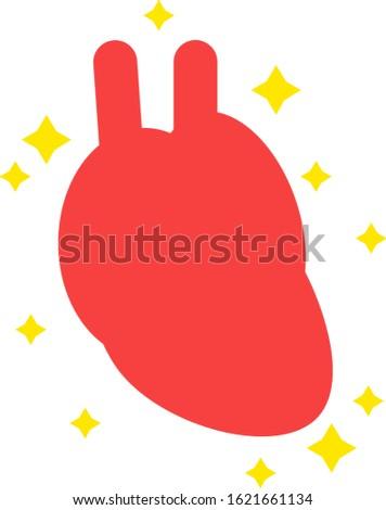 Illustration of simple healthy heart internal organs circulatory organ