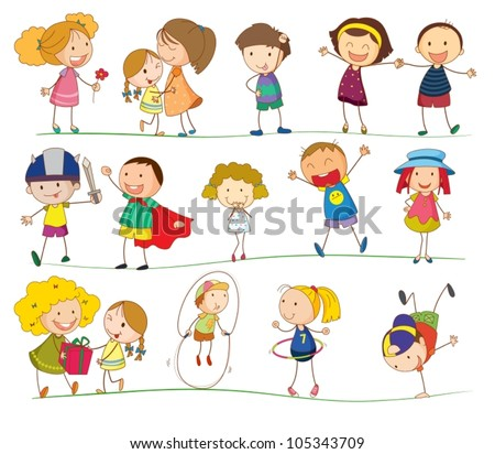 Illustration of simple kids on white - stock vector