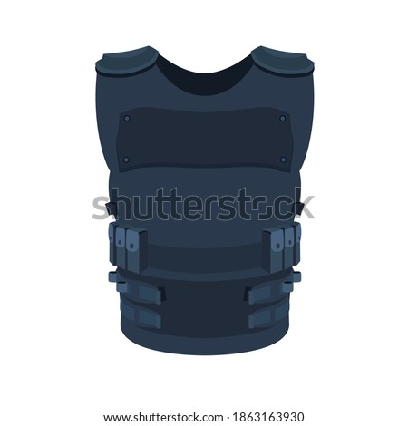 Illustration of single object isolated on white. Flat art of a police vest basic and individual protective body armour. Stock photo ©