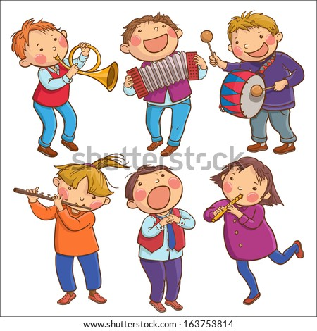 Illustration of Six Children Playing Musical instruments SET Children illustration for School books pictures books magazines advertising and more Separate Objects VECTOR