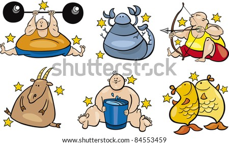 illustration of six overweight zodiac signs from november to march