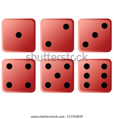 Illustration of six red dice, each showing one different face
