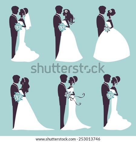 illustration of six wedding