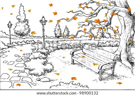 illustration of sketch of autumn background with maple tree shedding leaves