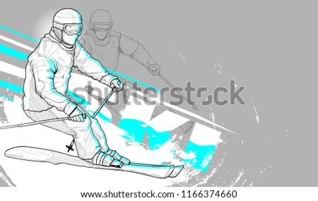 illustration of skier skiing