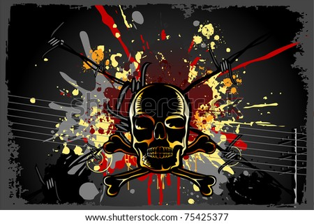 illustration of skull on grungy abstract background