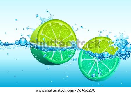 illustration of slices of lemon in splash of water