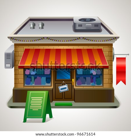 Illustration of small store. XXL icon