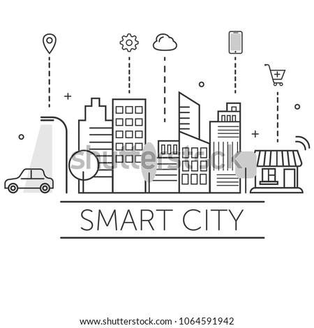 Illustration of smart city.