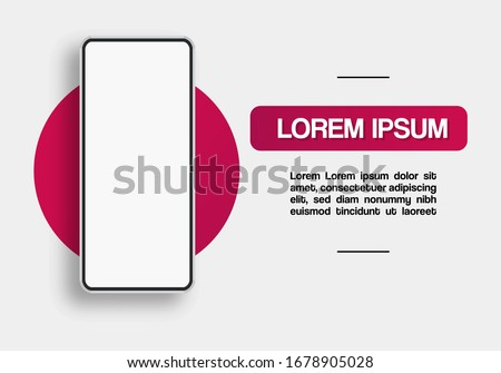 Illustration of smart phone with front view for telephone commerce of networks and mobile technologies