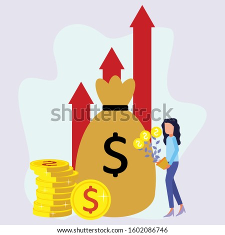 Illustration of smart vector flat investment. Entrepreneurs raised the cartoon character of the money tree. A happy businessman in informal clothes. Investors, startups, successful business ideas