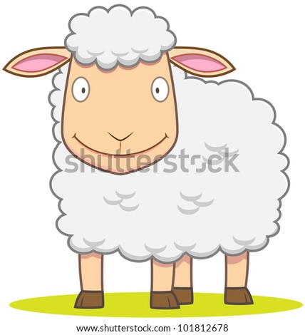 Illustration of smiley Sheep in cartoon style