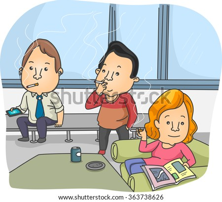 illustration of smokers taking