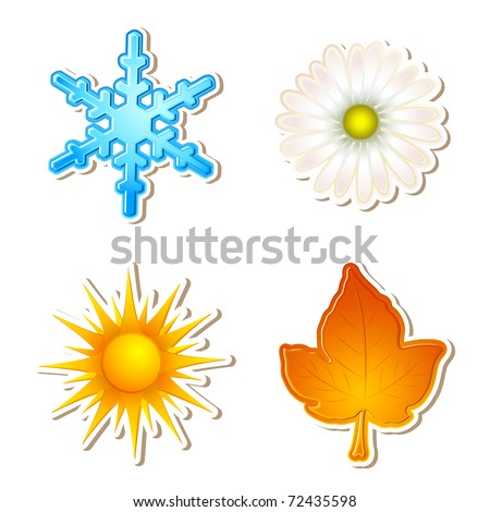 illustration of snowflake,daisy,sun and maple leaf showing four season