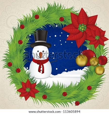 illustration of snowman, in a wreath, vector illustration